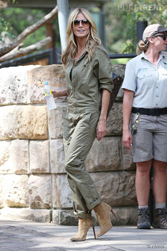 Heidi Klum en combinaison militaire.