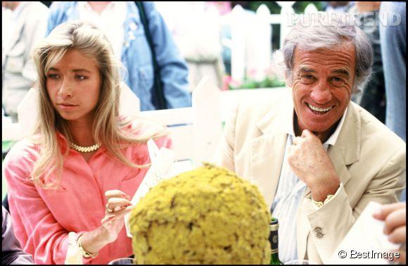 Jean-Paul Belmondo et Natty Tardivel à la finale de Roland Garros en juin 1989.