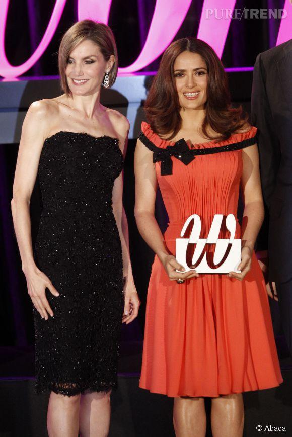 La reine d'Espagne remet une distinction à l'actrice Salma Hayek.