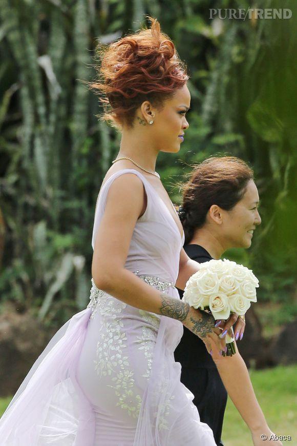 Rihanna lors du mariage de son assistante Jennifer Morales à Honolulu le 20 avril 2015.