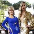 Jane Fonda est tellement canon qu'elle peut se permettre de taper la pose sans complexes à côté du jeune top Natasha Poly...
