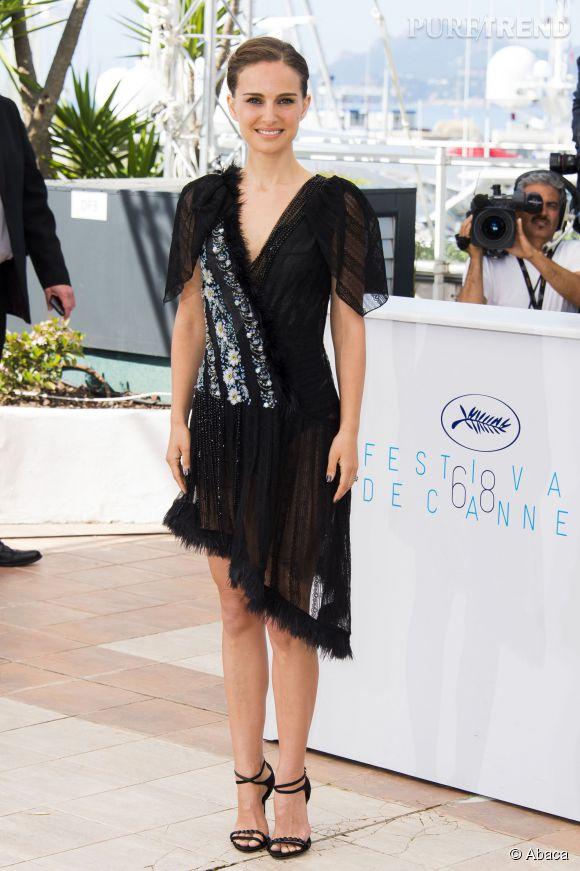 """Natalie Portman, superbe hier à Cannes pour le photocall du film """"Une histoire d'amour et de ténèbres""""."""