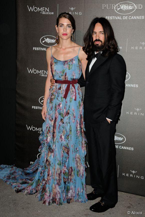 """Charlotte Casiraghi et Alessandro Michele à la soirée des """"Women in motion"""" ce dimanche 17 mai 2015, à Cannes."""