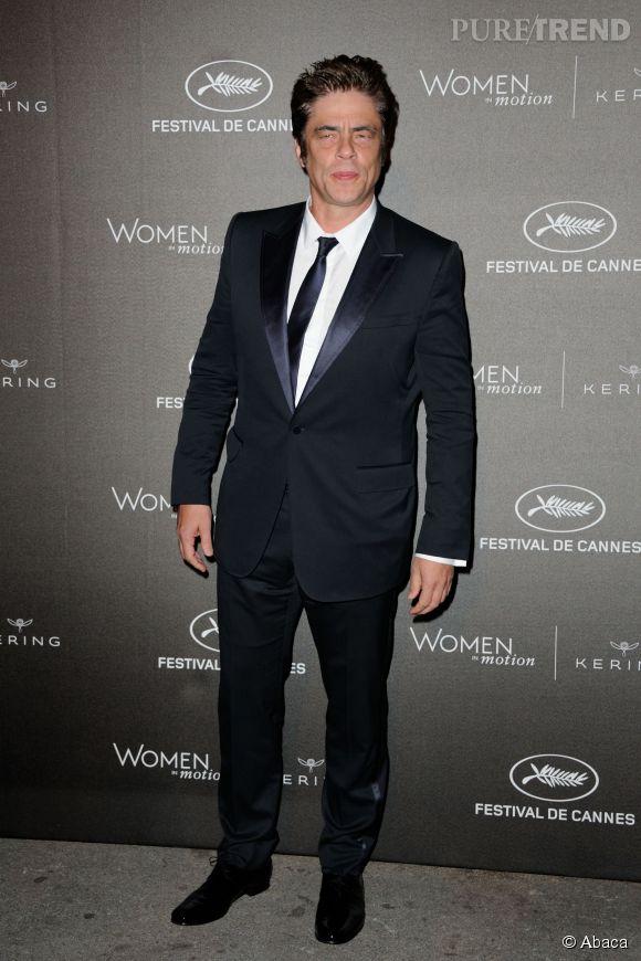 """Benicio del Toro à la soirée des """"Women in motion"""" ce dimanche 17 mai 2015, à Cannes."""