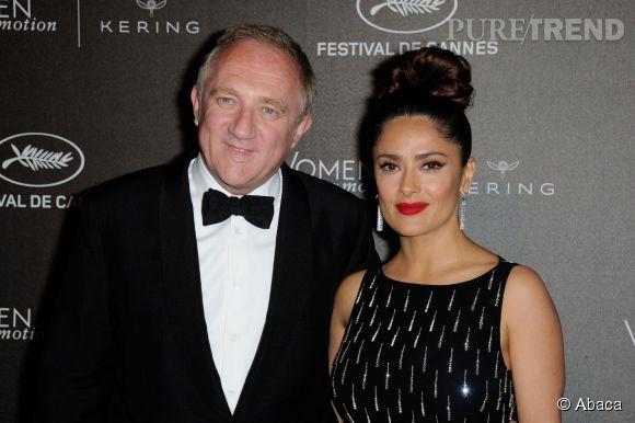 """Francois-Henri Pinault et sa femme Salma Hayek à la soirée des """"Women in motion"""" ce dimanche 17 mai 2015, à Cannes."""