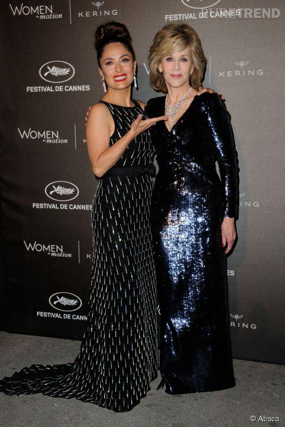 """Salma Hayek et Jane Fonda à la soirée des """"Women in motion"""" ce dimanche 17 mai 2015, à Cannes."""