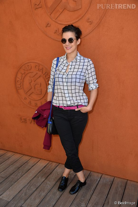 Mélanie Doutey, simple et chic à Roland Garros samedi 6 juin 2015.