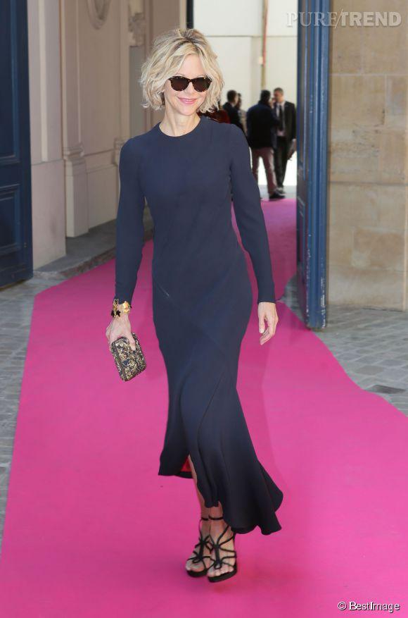 Meg Ryan, ce lundi à Paris pour assister au défilé Schiaparelli.