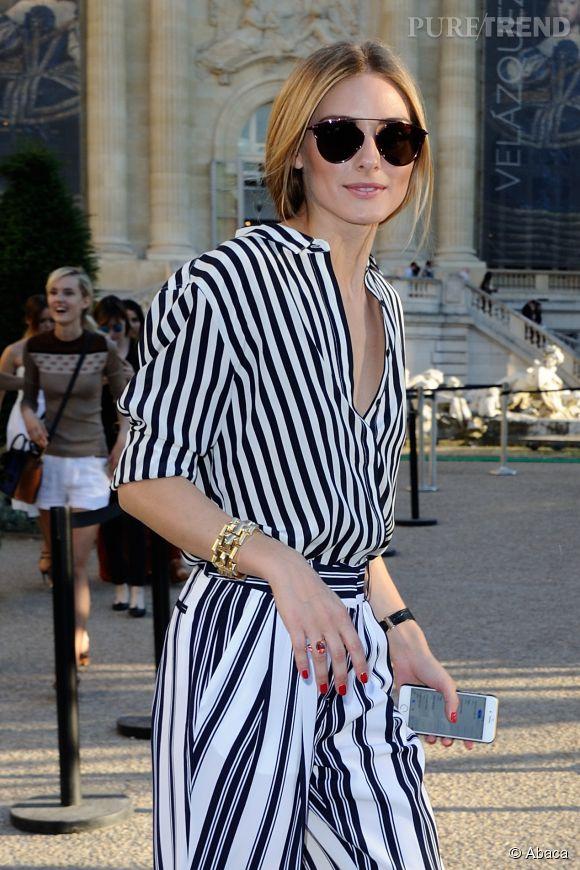 Olivia Palermo ou comment mixer les rayures au défilé Giambattista Valli à Paris le 5 juillet 2015.