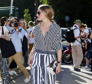Olivia Palermo, une fashionista en vadrouille à Paris le 5 juillet 2015.