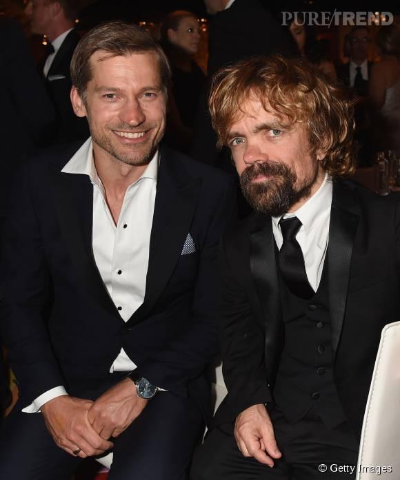 """Avec 24 nominations cette année aux Emmy Awards, la série """"Game of Thrones"""" arrive en tête des nominations. Ici les acteurs Peter Dinklage et Nikolaj Coster-Waldau, respectivement Tyrion Lannister et Jaime Lannister dans """"Game of Thrones""""."""