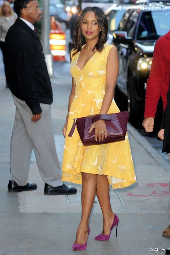 """Kerry Washington, éblouissante dans une robe jaune et à l'élégant décolleté V pour """"Good Morning America"""", en 2014."""