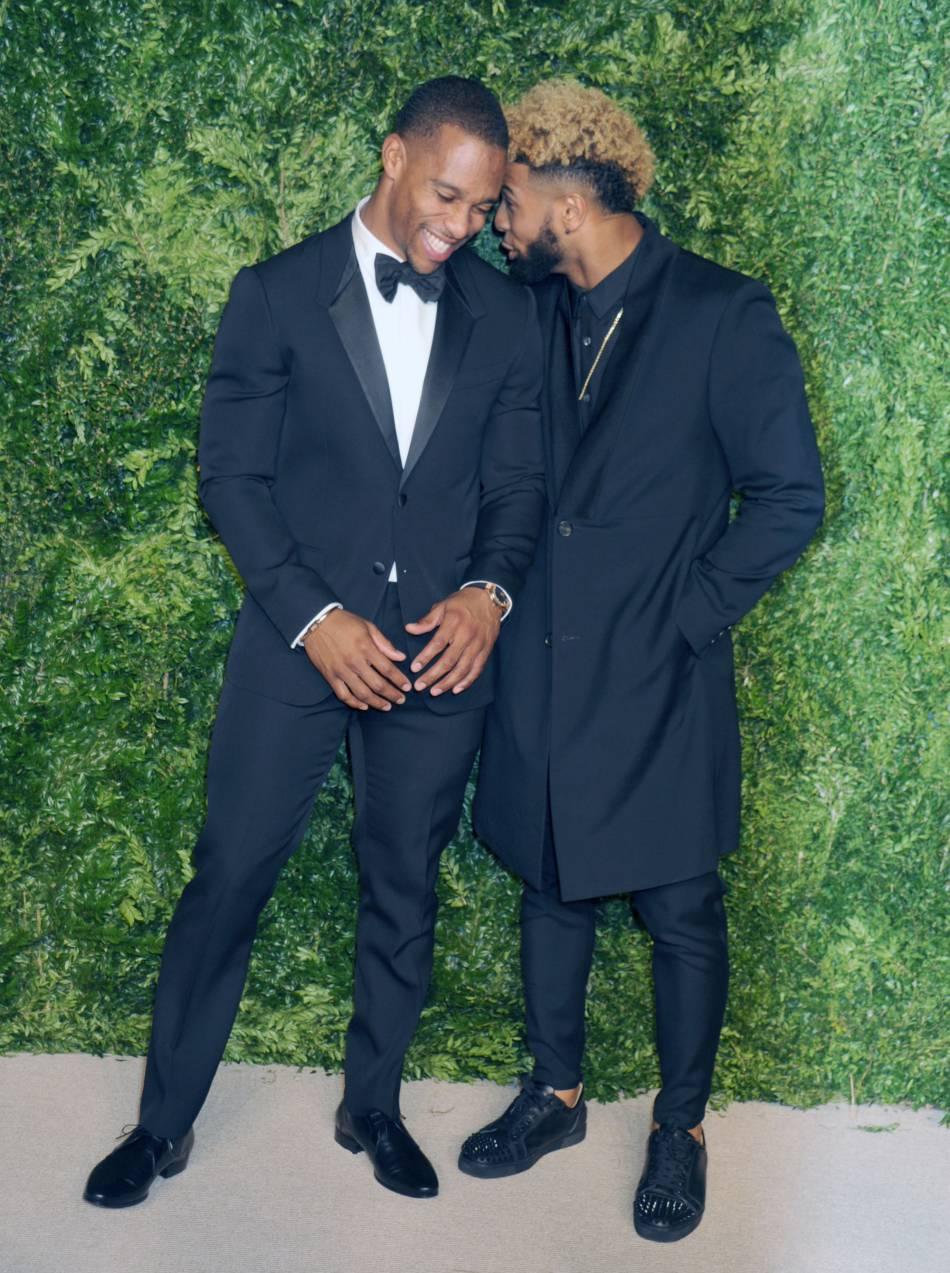 Victor Cruz et Odell Beckham Jr. à la soirée CFDA/Vogue Fashion Fund Awards de ce lundi 2 novembre 2015.