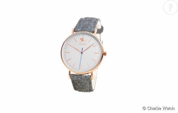 """Montre """"Buci"""" de Charlie Watch à quartz, boîtier en acier et bracelet en flanelle, 145€."""