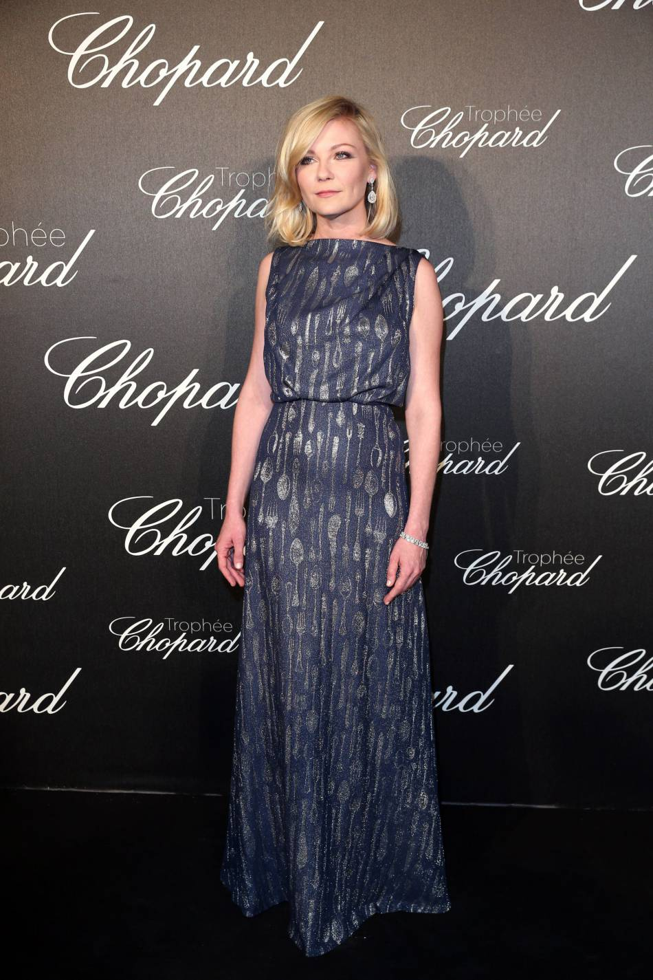 Kirsten Dunst lors de la cérémonie du Tropée Chopard organisée le 12 mai 2016 à Cannes.