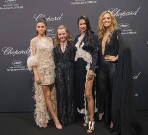 Caroline Scheufele de Chopard entourée de Kendall Jenner, Adriana Lima et Petra Nemcova à la soirée Chopard le 16 mai 2016 à Cannes.