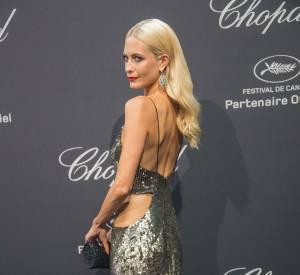 Poppy Delevingne en Roberto Cavalli à la soirée Chopard le 16 mai 2016 à Cannes.