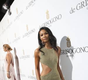 Le mannequin Victoria's Secret, Chanel Iman, a aussi opté pour la robe fendue.
