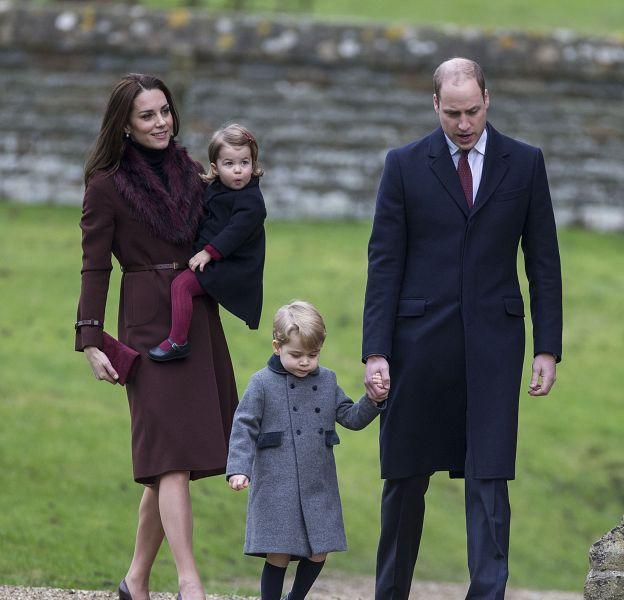 Le prince William, son épouse Kate Middleton et leurs enfants George et Charlotte se rendent à la messe de Noël à Englefield, dans le Berkshire.