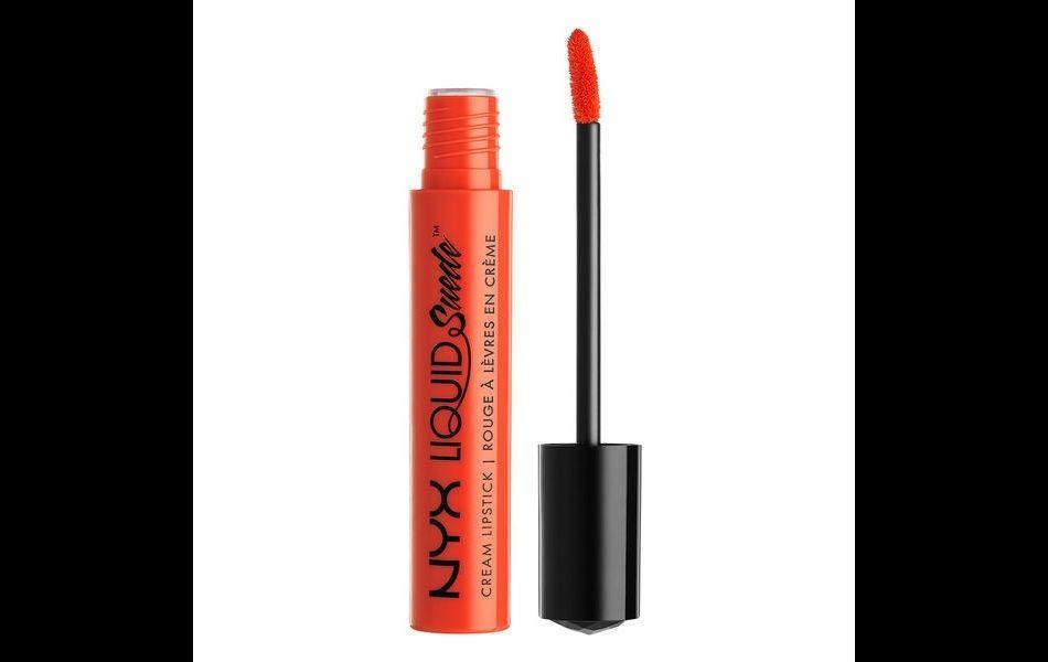 "Liquid Suede Lipstick Cream de Nyx, teinte ""Orange County"", 7,90 €."