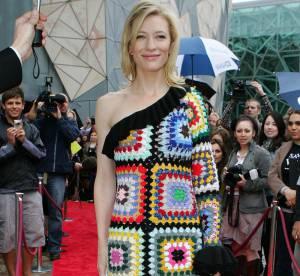 Cate Blanchett : mais pourquoi cette curieuse robe bariolée ?