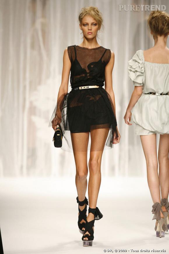 Fendi : Jeu de transparence  C'est une collection aérienne que le grand Karl a fait défiler pour Fendi. A l'instar de cette courte robe en tulle plumetis, les silhouettes sont si légères qu'elles révèlent la lingerie. La ceinture est parfaitement à sa place pour casser ce noir et rappelle le plateau des chaussures. Une création tout à fait emblématique de l'histoire de cette colection très réussie.