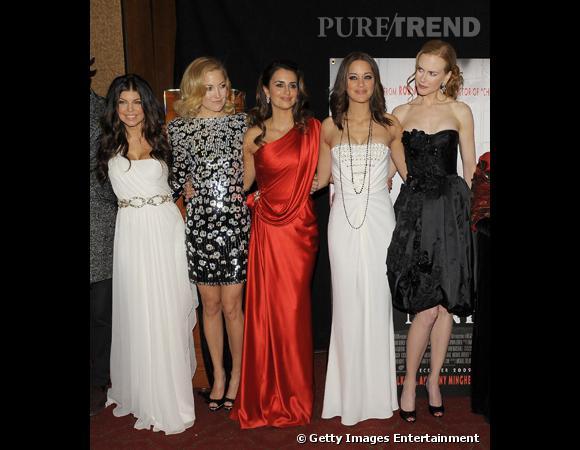 Le casting de luxe de Nine : Fergie en Marchesa, Kate Hudson et Penelope Cruz en Chanel, Marion Cotillard en Christian Dior et Nicole Kidman en Prada. Une première à New-York dont on se souviendra...