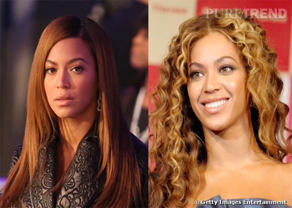La chanteuse de r'n'b Beyoncé, perd ses charmes exotiques lorsqu'elle porte les cheveux raides, en optant pour une beauté plus européenne. On lui préfère sa crinière de lionne.