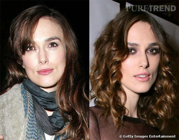 Les boucles permettent à Keira Knightley d'affiner son visage, tandis qu'avec les cheveux lisses, sa machoire, plutôt carrée, est presque trop imposante.