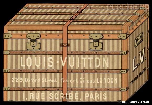 Etiquette de bagage utilisée entre 1885 et 1890 représentant une malle rayée Louis Vuitton.