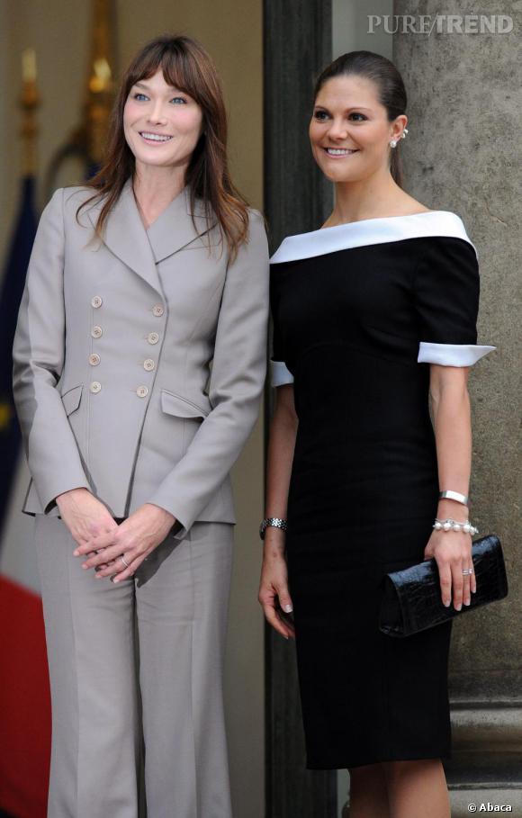 La Première dame de France Carla Bruni et la Princesse Victoria de Suède à l'Elysée.