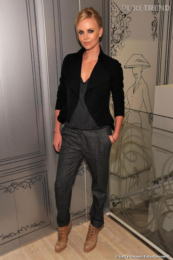 Charlize Theron et ses bottines camel façon creepers Christian Dior.