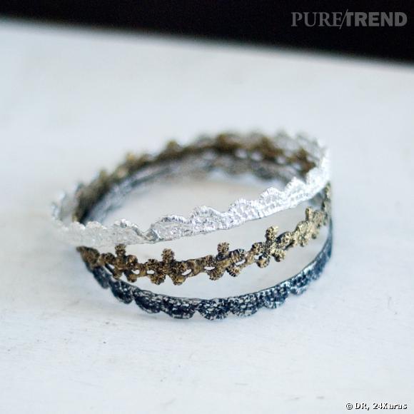Set de trois bracelets Dentelle Antique 24karas, environ 245 € sur 24Karas.com.