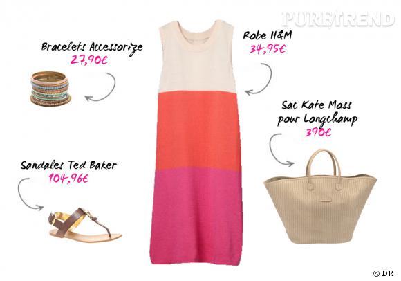 Robe H&M, sac Kate Moss pour Longchamp, bracelets Accessorize et sandales Ted Baker sur asos.fr