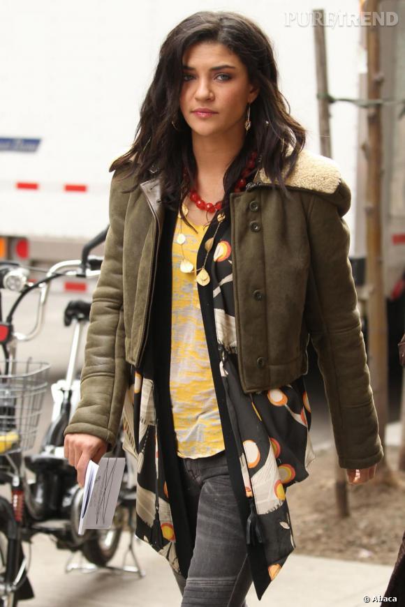 Jessica Szohr sur le tournage de Gossip Girl à New-York.