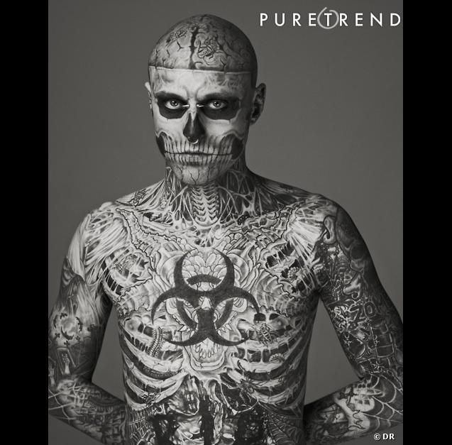 Rick Genest, le mannequin tatoué.