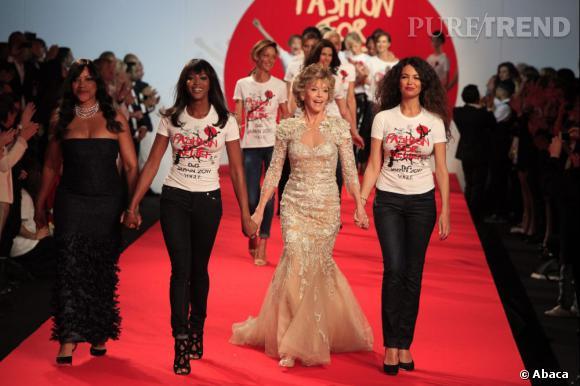 Défilé Fashion for Relief, Cannes. Grace Hightower, Naomi Campbell, Jane Fonda et Afef Jnifen.