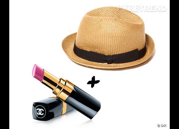 """Le rouge à lèvres qu'il faut à mon chapeau !  Chapeau masculin Lafayette Accessoires, 29,90 € + rouge à lèvres """"Rouge Coco Shine"""" Chanel, 29,50 €."""