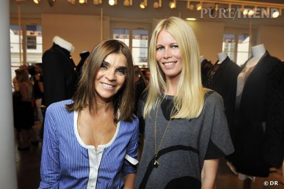 Carine Roitfeld et Claudia Schiffer à la présentation de la collection Claudia Schiffer Cachemire chez colette, mardi 5 juillet.
