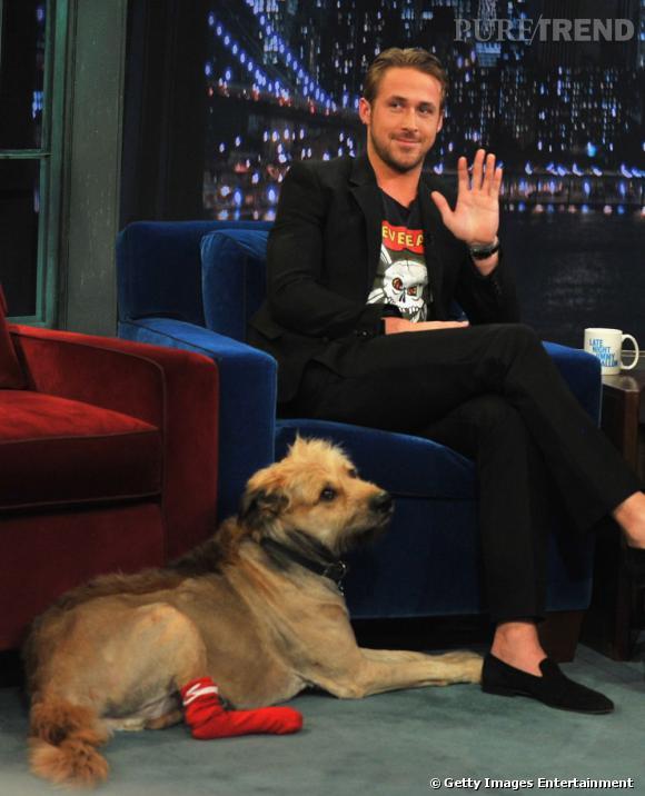 """Ryan Gosling invité à l'émission """"Late Night With Jimmy Fallon"""" à New York."""