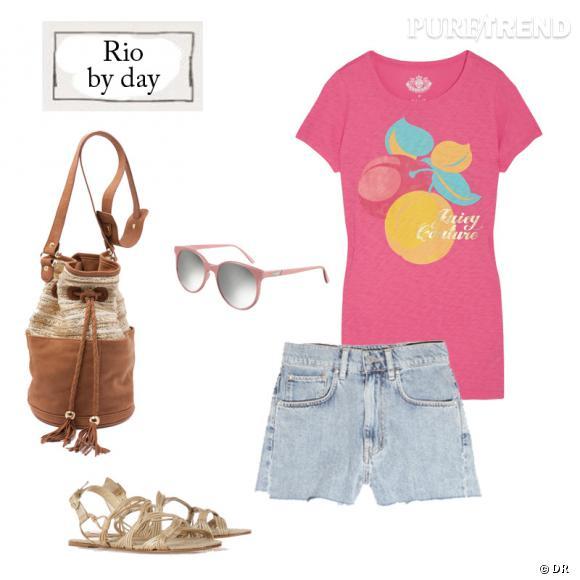 Sac My Suelly (295€), lunettes Prism (285€), t-shirt Juicy Couture (70.66€), short MIH Jeans (156.37€) et sandales Paloma Barcelo (206.11€) sur net-a-porter.com