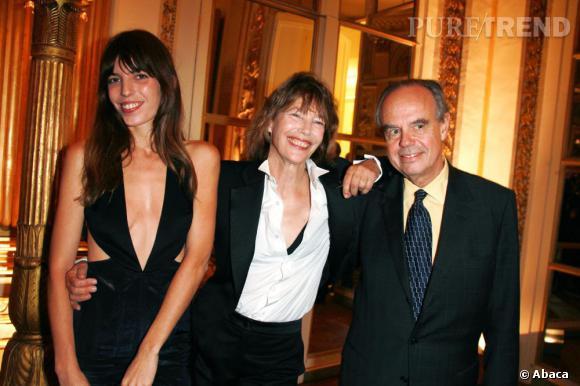 Lou Doillon et Jane Birkin en compagnie de Frédéric Mitterrand dans le cadre somptueux du Ministère de la Culture.