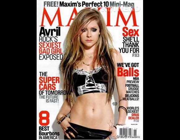 Problème de bras aussi pour Avril Lavigne en couverture de  Maxim  dont l'avant bras à gauche sur l'image disparait comme par magie.