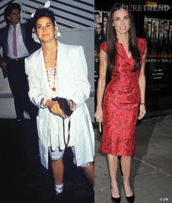 Du L au XS, l'évolution de look de Demi Moore.