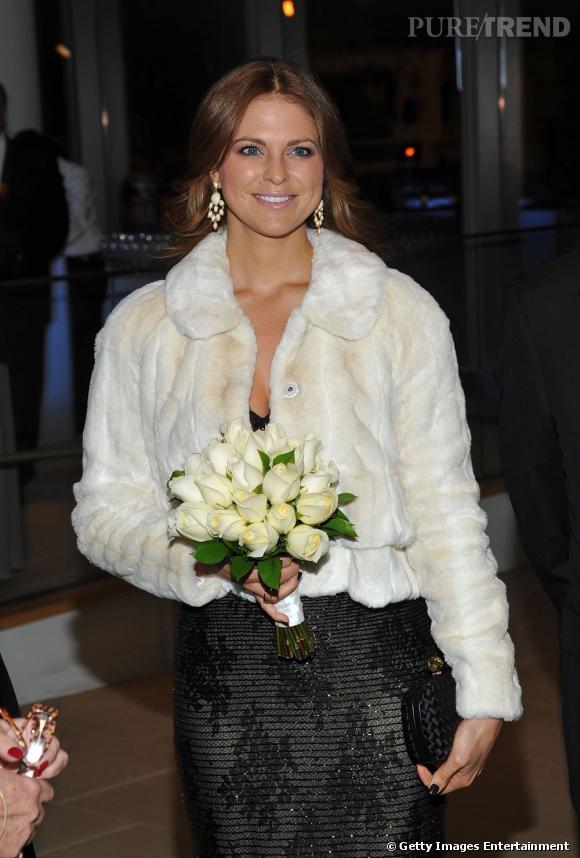 La Princesse Madeleine de Suède lors d'un diner à la chambre de commerce americano-suédoise à New York.