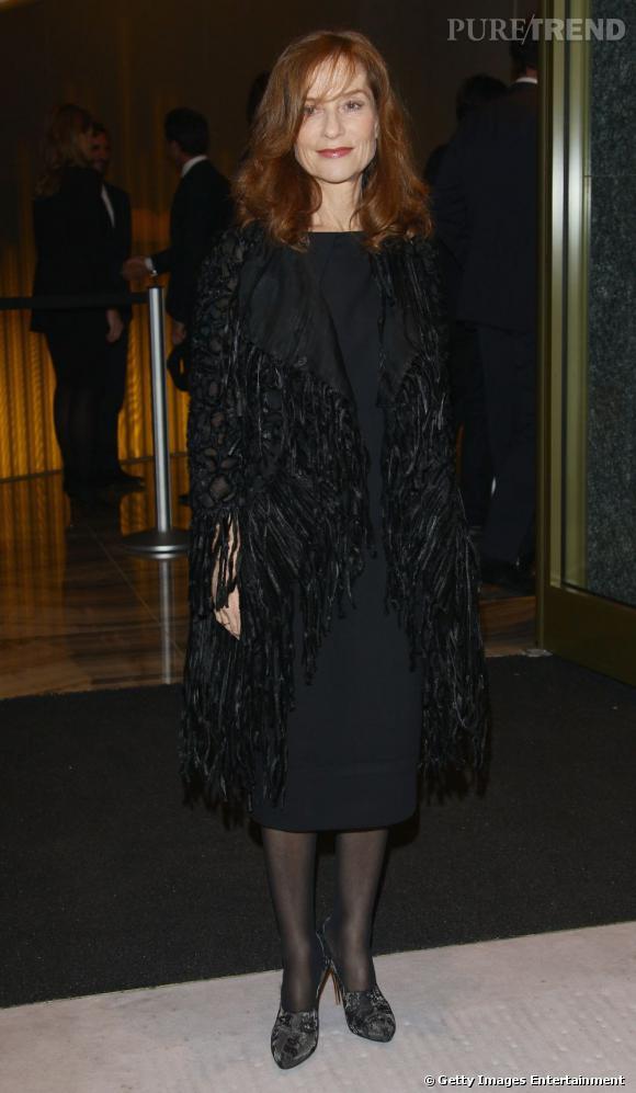 Isabelle Huppert à l'inauguration de l'Armani Hotel à Milan.