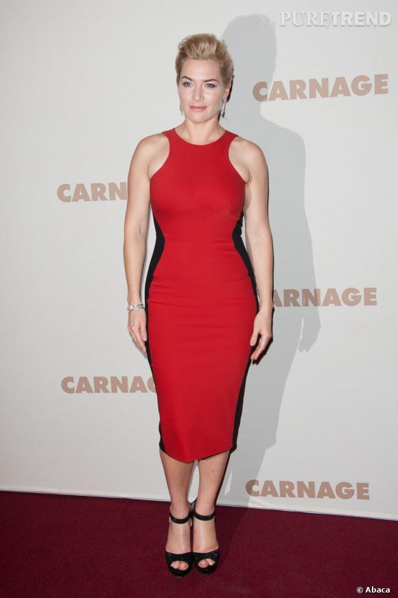 """Kate Winslet à la première du film """"Carnage"""" dans une robe Stella McCartney."""