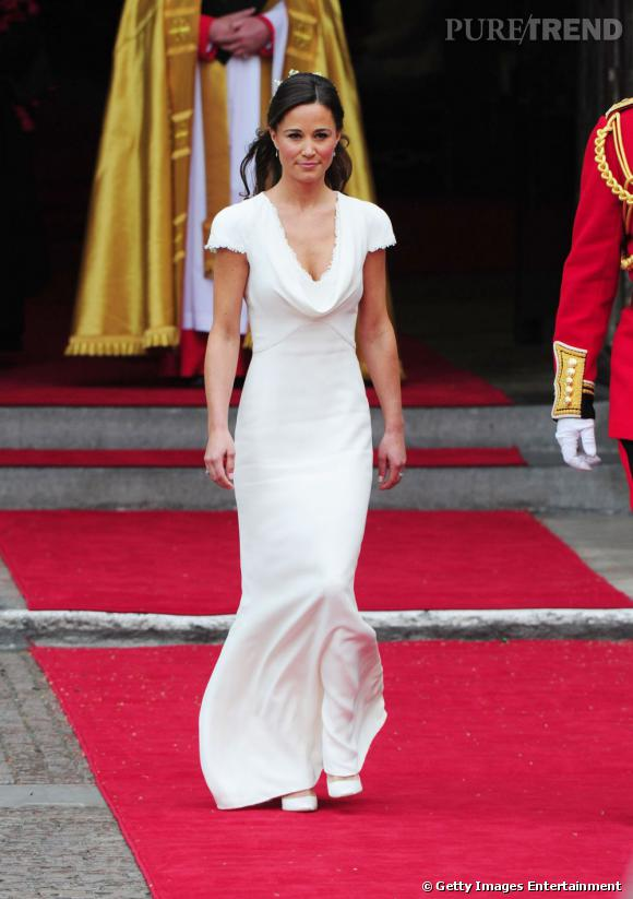 Pippa Middleton en robe Alexander McQueen au mariage de sa soeur Kate Middleton.