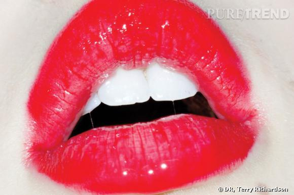 Terry Richardson, Untitled (red lips), 2011, C-print, 48 x 72 inches