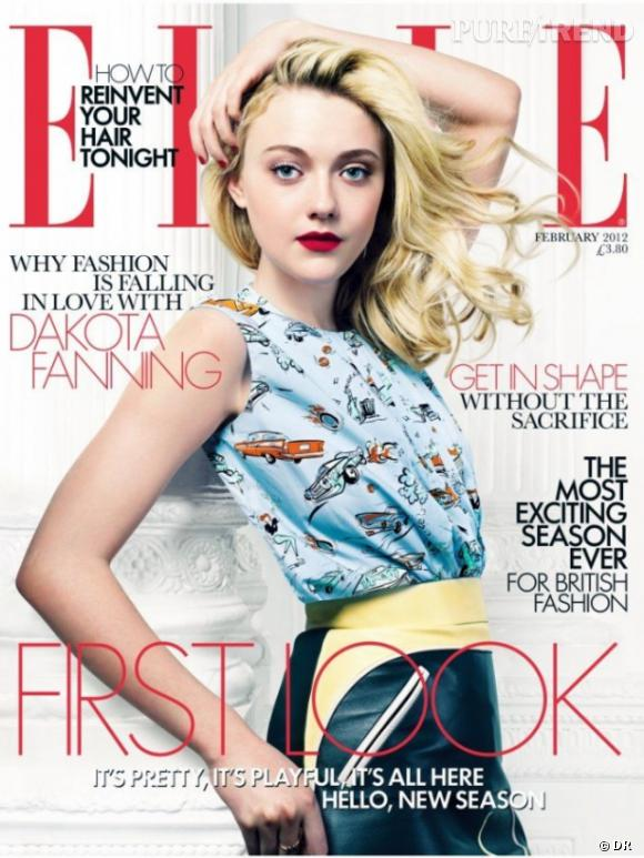 Dakota Fanning en couverture du Elle UK février 2012.